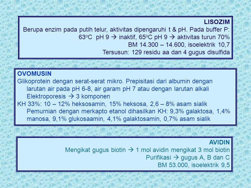 LISOZIM Berupa enzim pada putih telur, aktivitas dipengaruhi t & pH. Pada buffer P: 63oC pH 9  inaktif, 65oC pH 9  aktivitas turun 70%