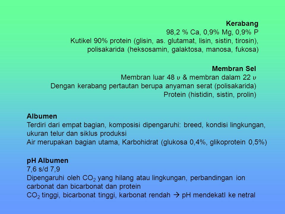 Kerabang 98,2 % Ca, 0,9% Mg, 0,9% P.