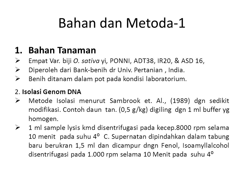 Bahan dan Metoda-1 Bahan Tanaman
