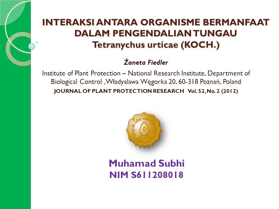 JOURNAL OF PLANT PROTECTION RESEARCH Vol. 52, No. 2 (2012)