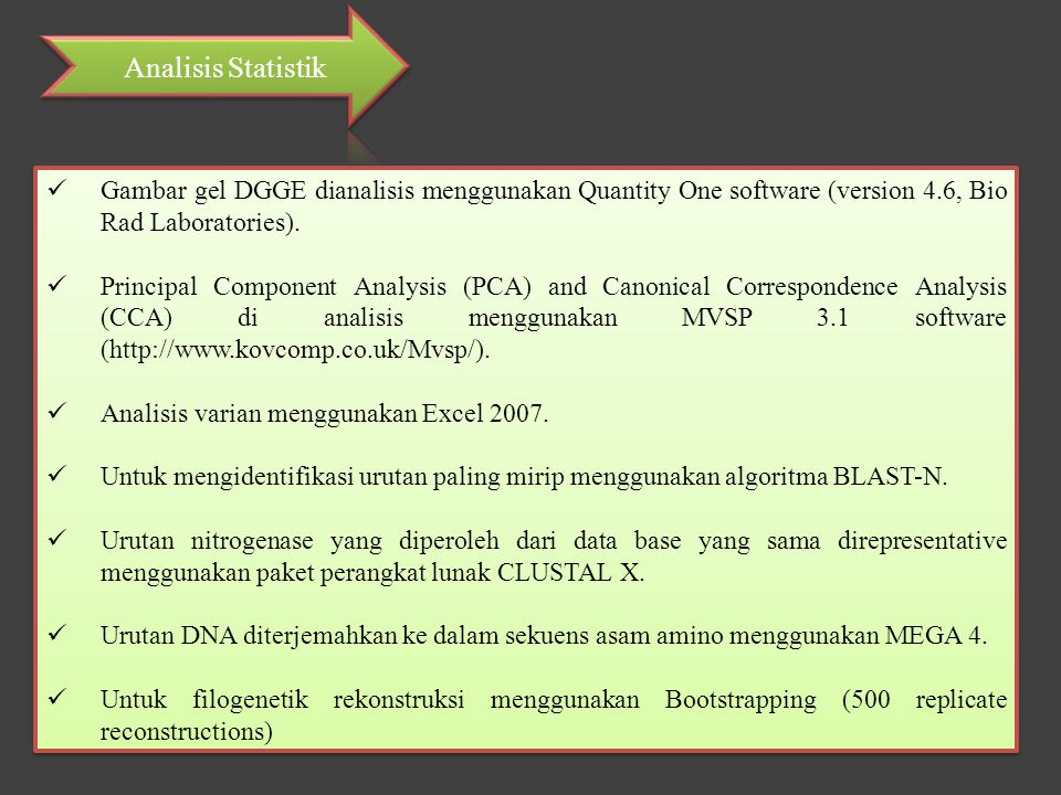 Analisis Statistik Gambar gel DGGE dianalisis menggunakan Quantity One software (version 4.6, Bio Rad Laboratories).