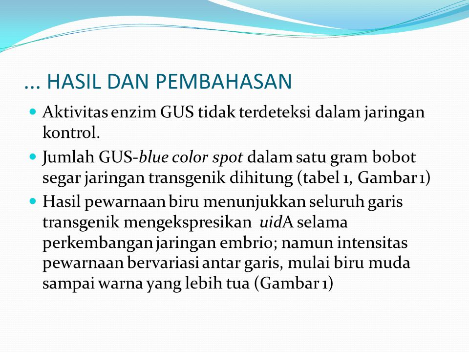 ... HASIL DAN PEMBAHASAN Aktivitas enzim GUS tidak terdeteksi dalam jaringan kontrol.