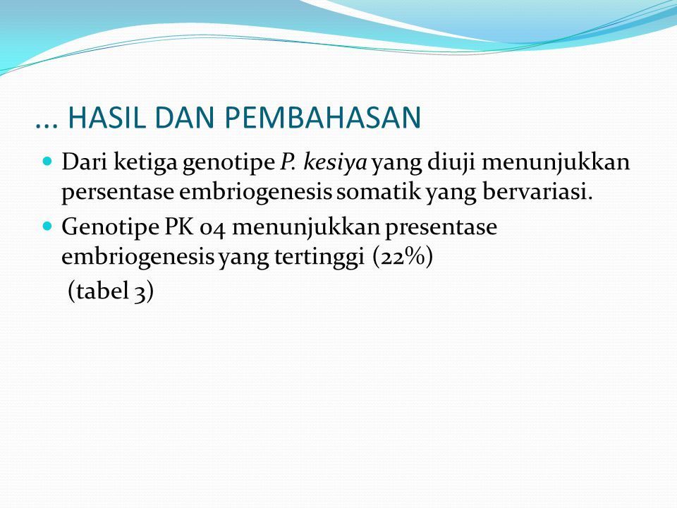 ... HASIL DAN PEMBAHASAN Dari ketiga genotipe P. kesiya yang diuji menunjukkan persentase embriogenesis somatik yang bervariasi.