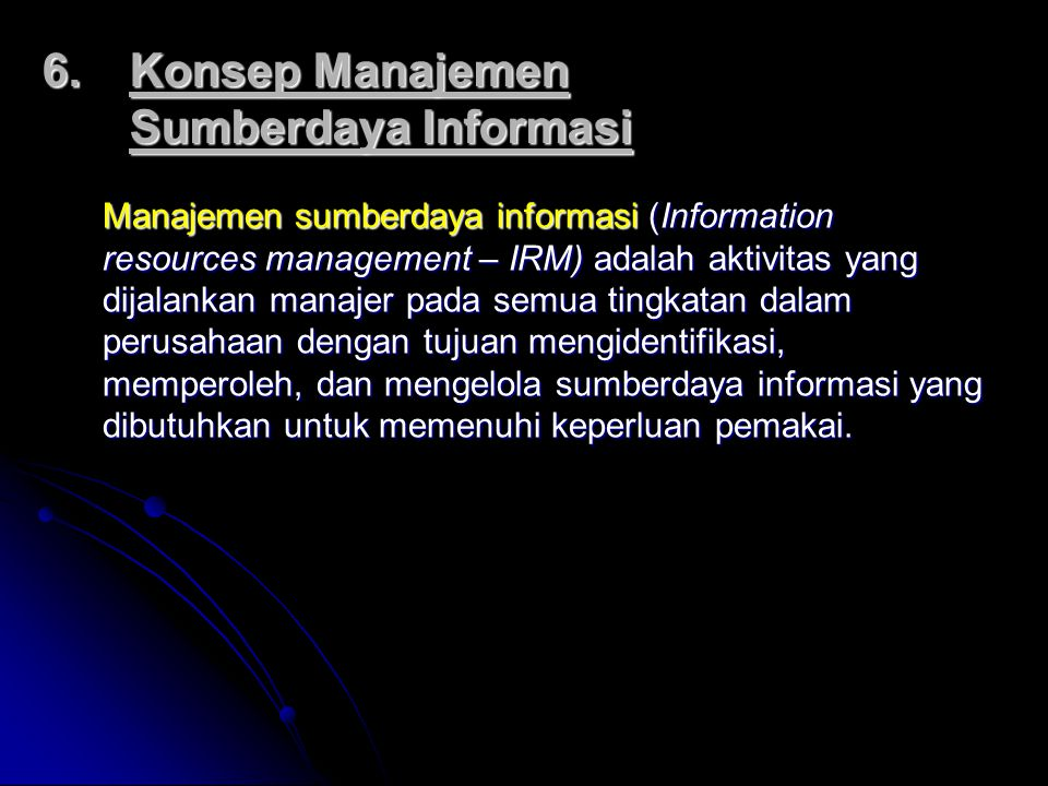 Konsep Manajemen Sumberdaya Informasi