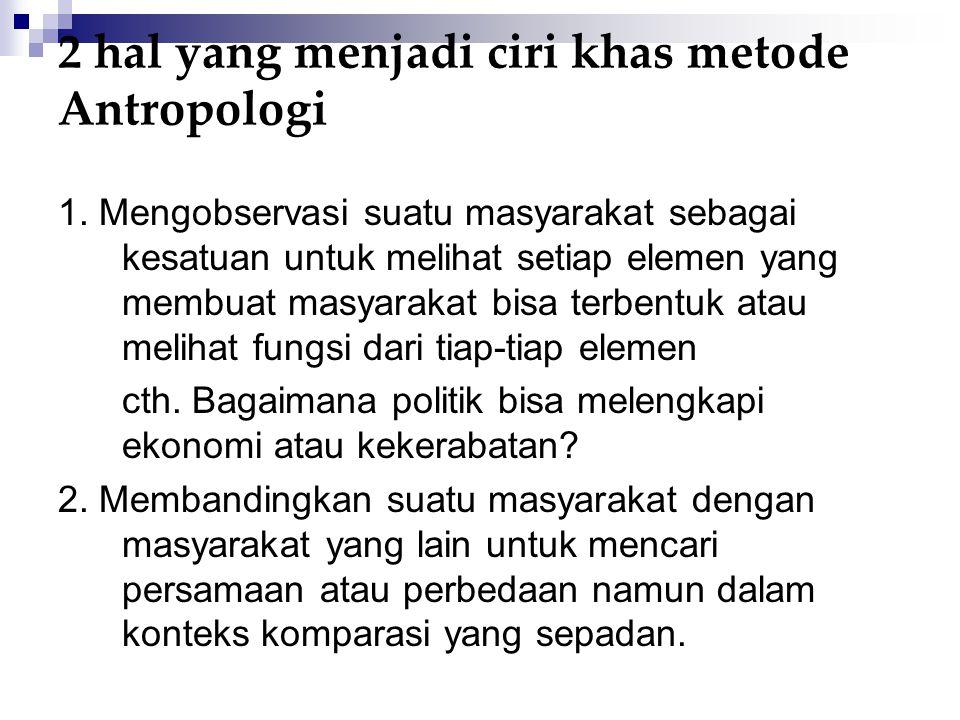 2 hal yang menjadi ciri khas metode Antropologi