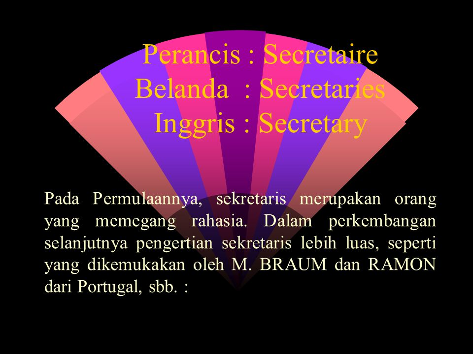 Perancis : Secretaire Belanda : Secretaries Inggris : Secretary