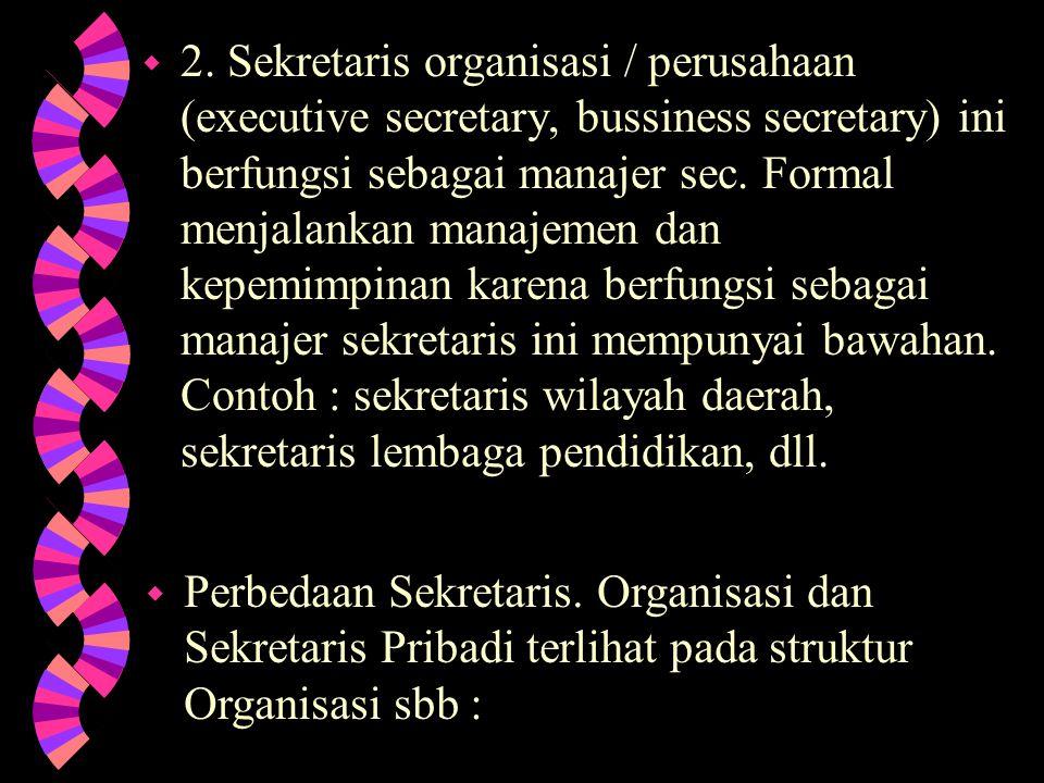 2. Sekretaris organisasi / perusahaan (executive secretary, bussiness secretary) ini berfungsi sebagai manajer sec. Formal menjalankan manajemen dan kepemimpinan karena berfungsi sebagai manajer sekretaris ini mempunyai bawahan. Contoh : sekretaris wilayah daerah, sekretaris lembaga pendidikan, dll.