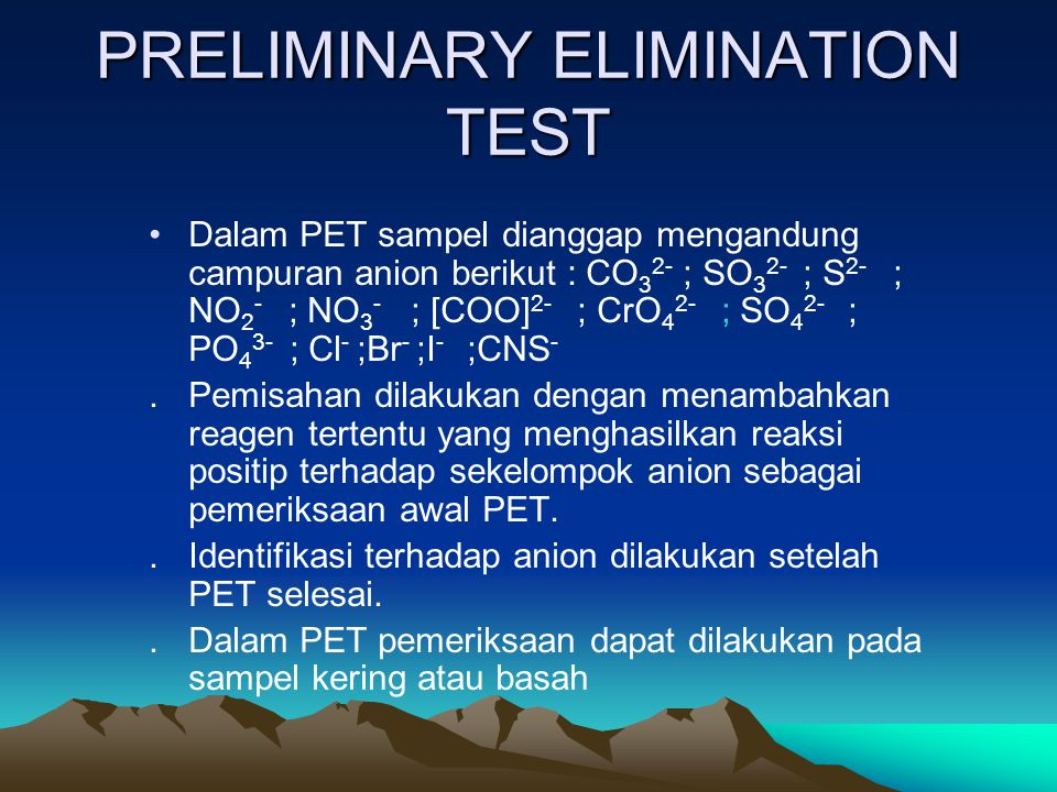 PRELIMINARY ELIMINATION TEST