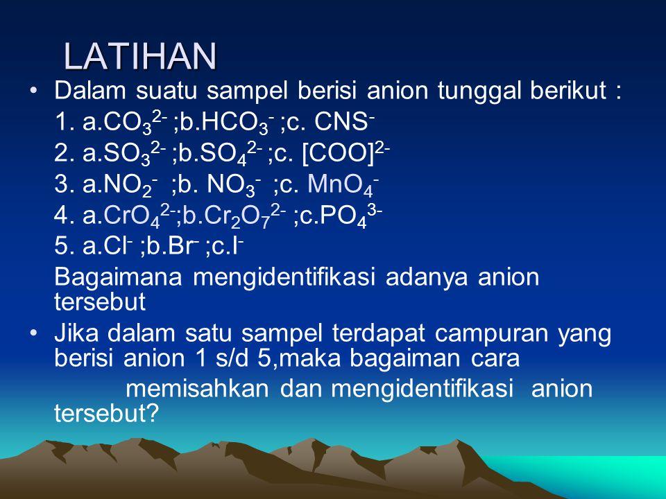 LATIHAN Dalam suatu sampel berisi anion tunggal berikut :