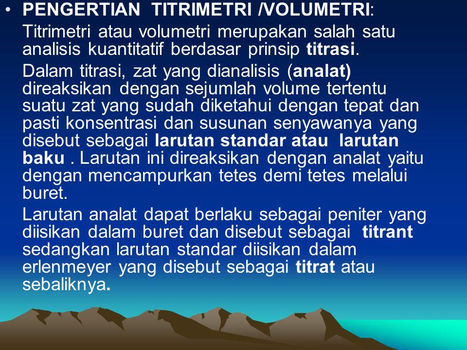 PENGERTIAN TITRIMETRI /VOLUMETRI: