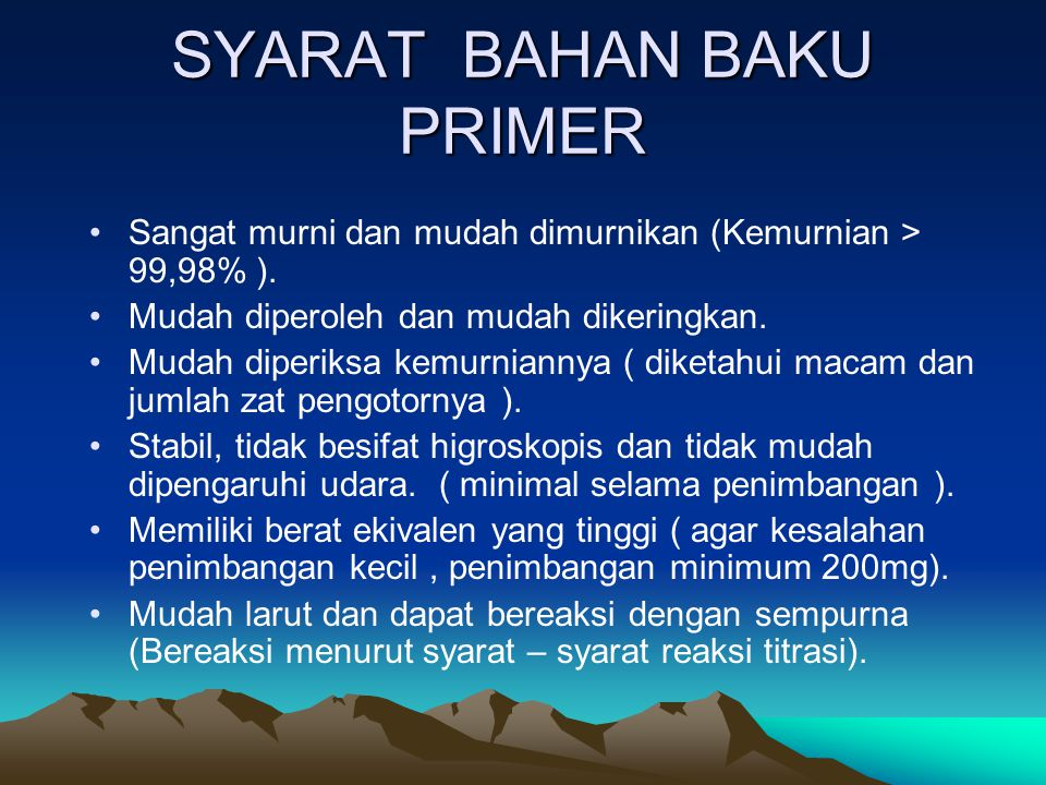 SYARAT BAHAN BAKU PRIMER
