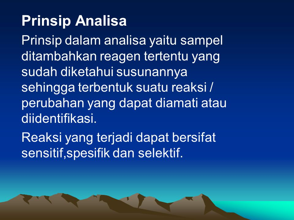 Prinsip Analisa