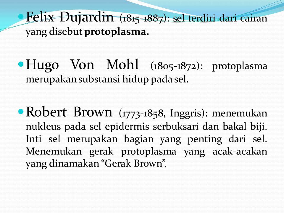 Felix Dujardin (1815-1887): sel terdiri dari cairan yang disebut protoplasma.
