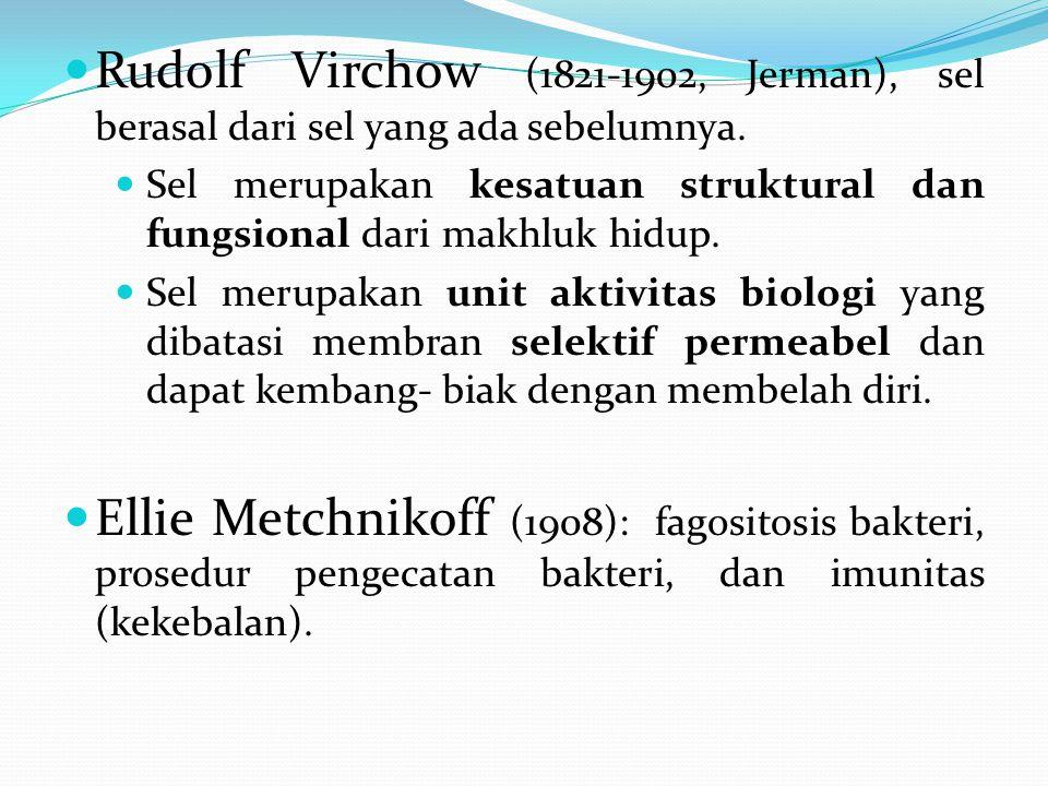 Rudolf Virchow (1821-1902, Jerman), sel berasal dari sel yang ada sebelumnya.