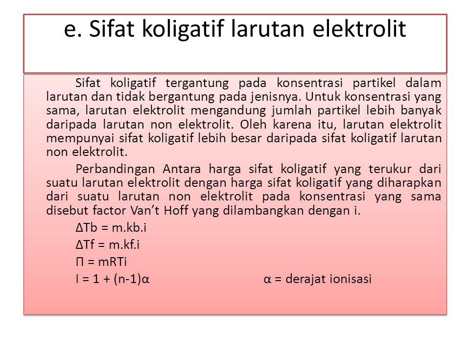 e. Sifat koligatif larutan elektrolit