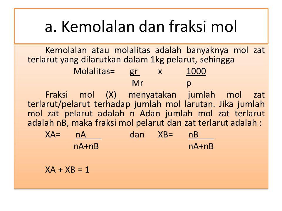 a. Kemolalan dan fraksi mol