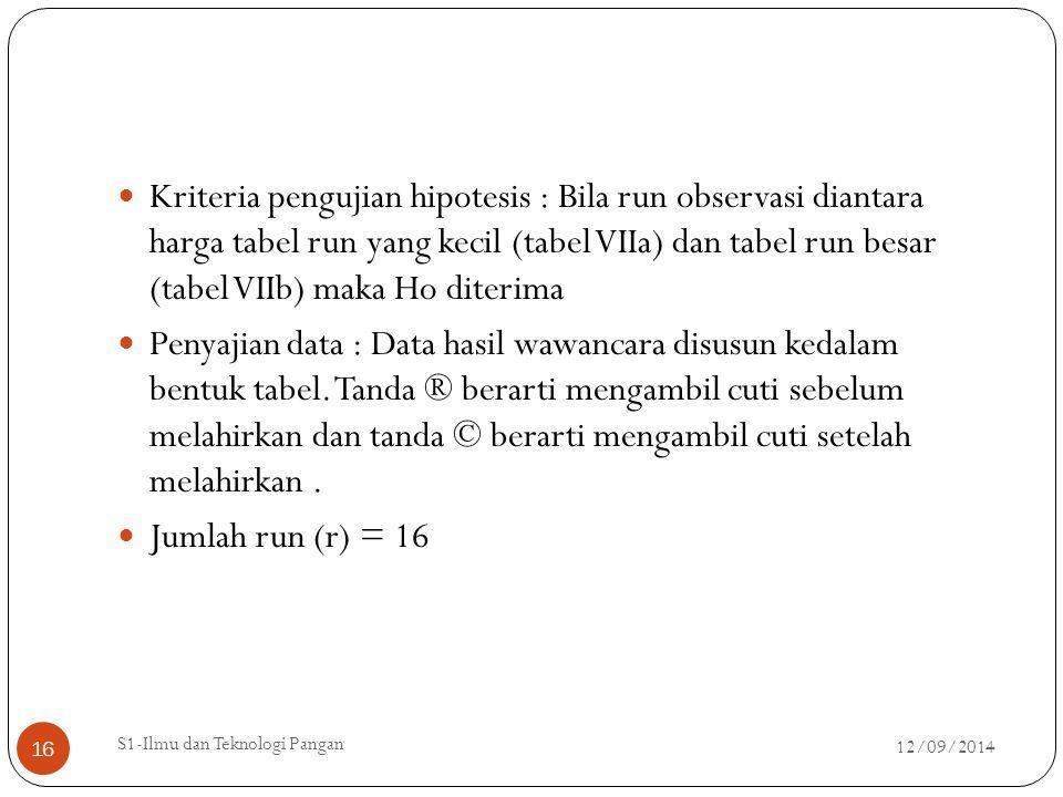 Kriteria pengujian hipotesis : Bila run observasi diantara harga tabel run yang kecil (tabel VIIa) dan tabel run besar (tabel VIIb) maka Ho diterima