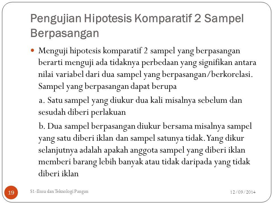 Pengujian Hipotesis Komparatif 2 Sampel Berpasangan