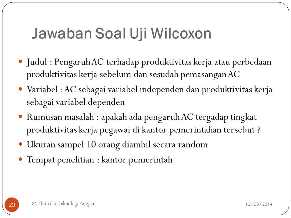 Jawaban Soal Uji Wilcoxon