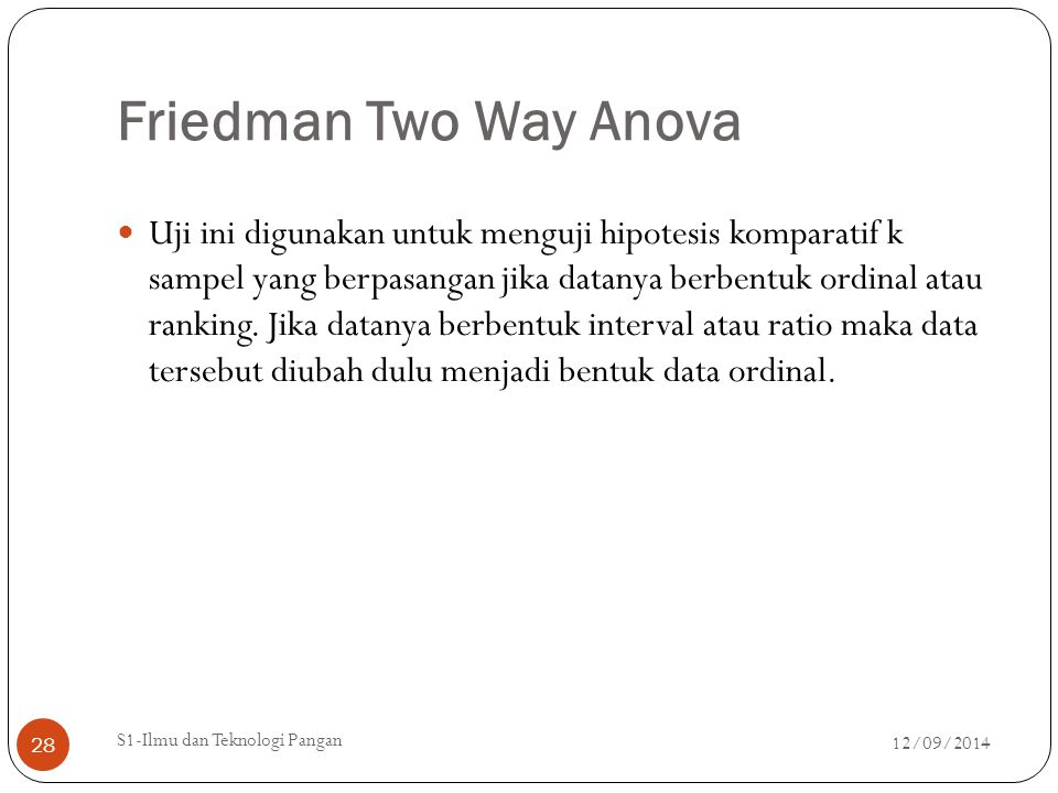 Friedman Two Way Anova