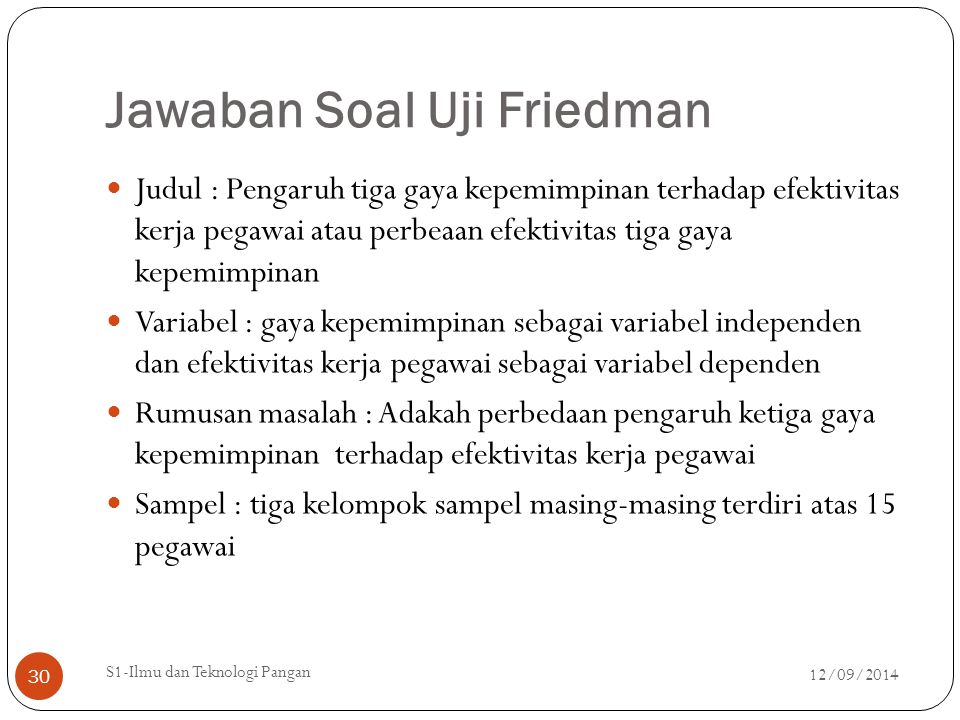 Jawaban Soal Uji Friedman