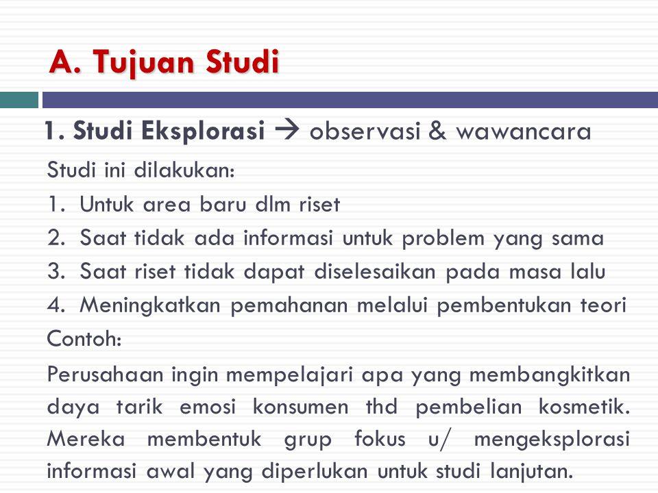 A. Tujuan Studi 1. Studi Eksplorasi  observasi & wawancara