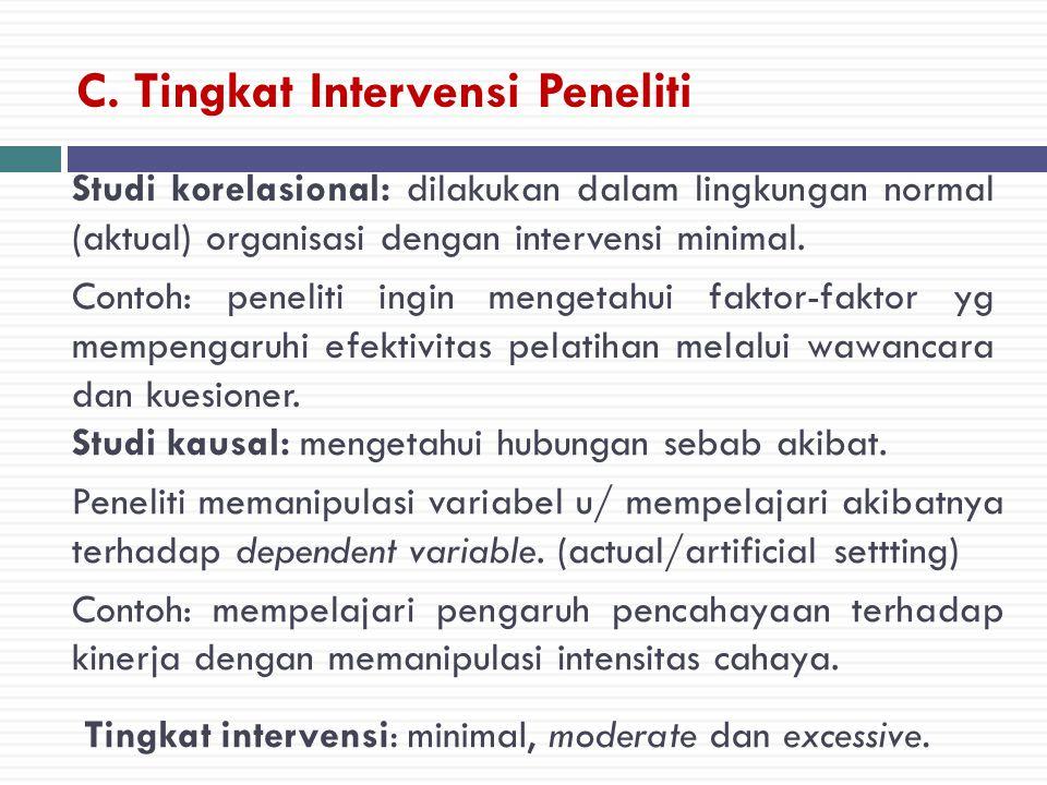 C. Tingkat Intervensi Peneliti