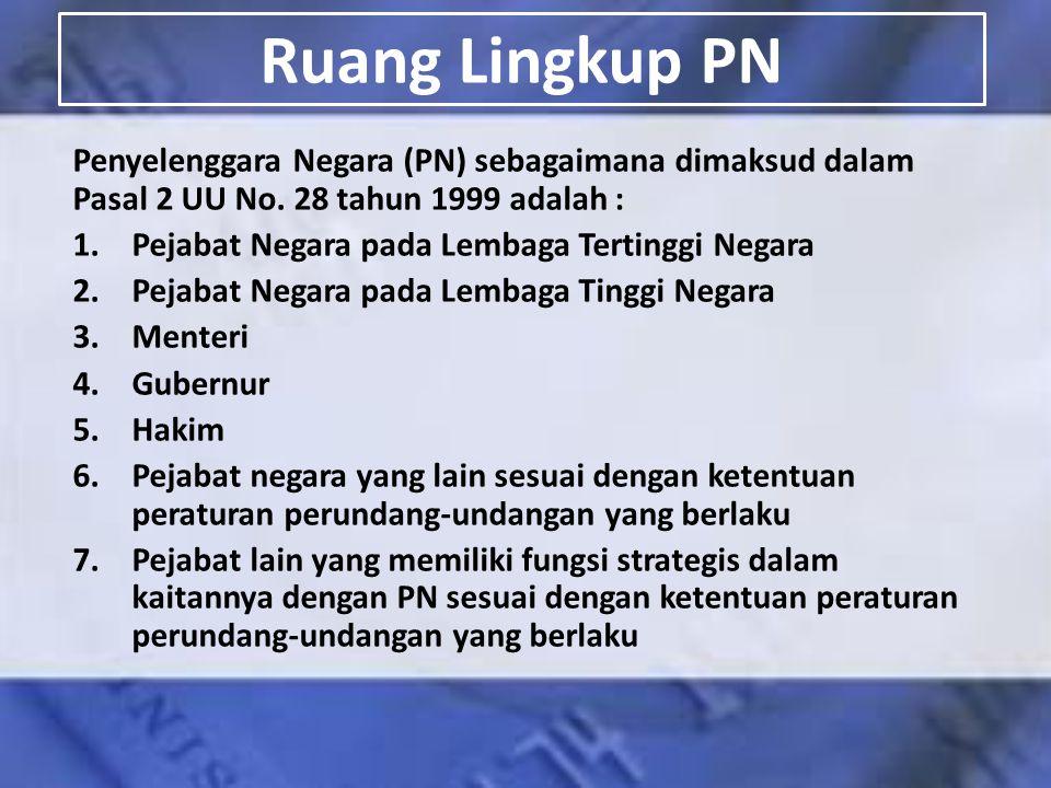 Ruang Lingkup PN Penyelenggara Negara (PN) sebagaimana dimaksud dalam Pasal 2 UU No. 28 tahun 1999 adalah :