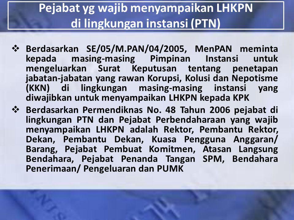 Pejabat yg wajib menyampaikan LHKPN di lingkungan instansi (PTN)