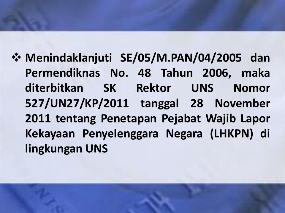 Menindaklanjuti SE/05/M. PAN/04/2005 dan Permendiknas No