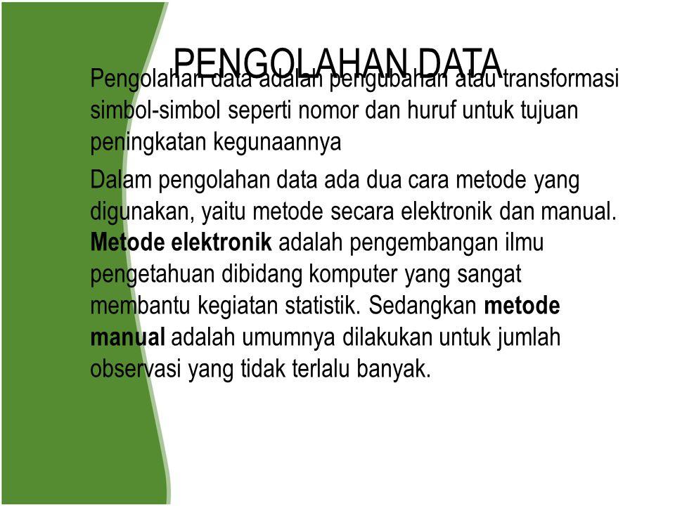 PENGOLAHAN DATA Pengolahan data adalah pengubahan atau transformasi simbol-simbol seperti nomor dan huruf untuk tujuan peningkatan kegunaannya.