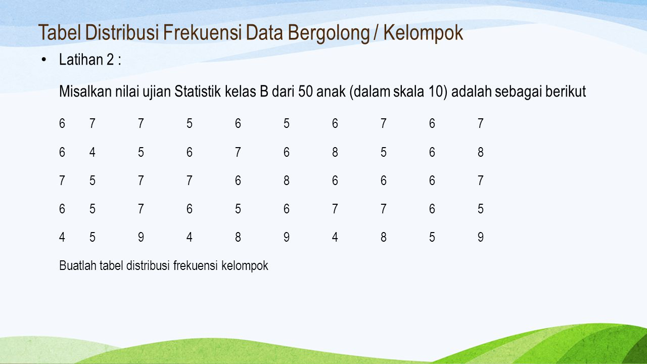 Tabel Distribusi Frekuensi Data Bergolong / Kelompok