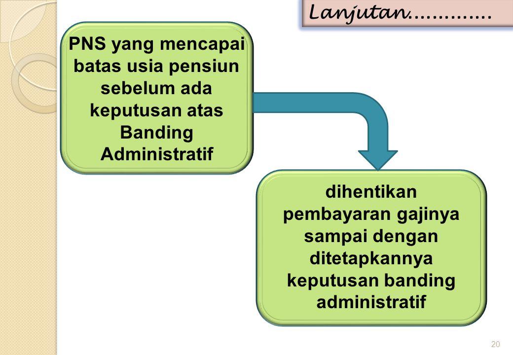 Lanjutan.............. PNS yang mencapai batas usia pensiun sebelum ada keputusan atas Banding Administratif.