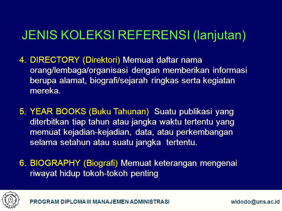 JENIS KOLEKSI REFERENSI (lanjutan)