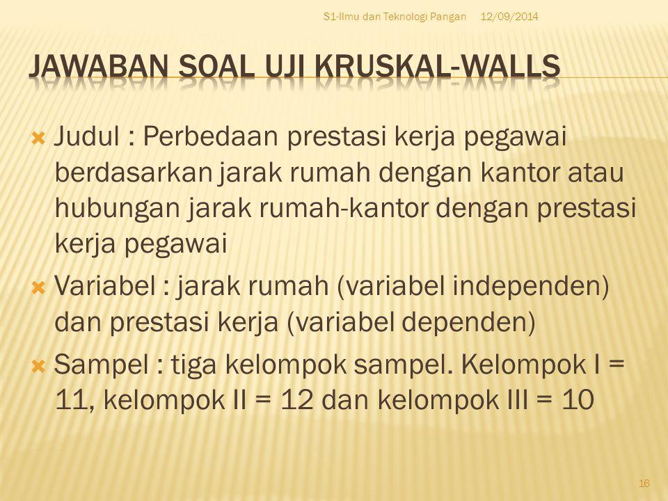 Jawaban Soal Uji kruskal-walls