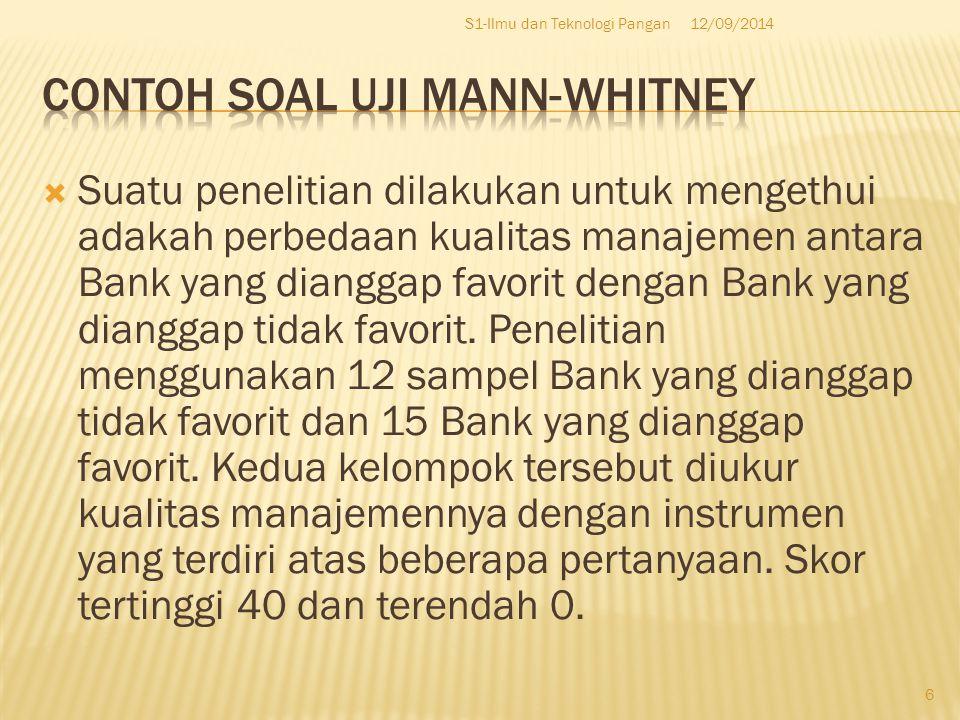 Contoh Soal Uji Mann-whitney