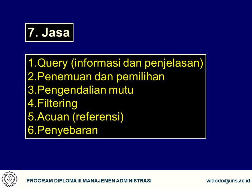 7. Jasa Query (informasi dan penjelasan) Penemuan dan pemilihan