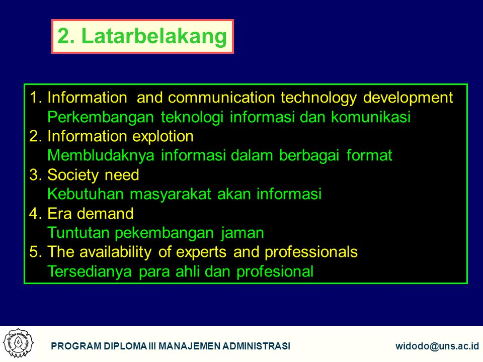2. Latarbelakang Information and communication technology development