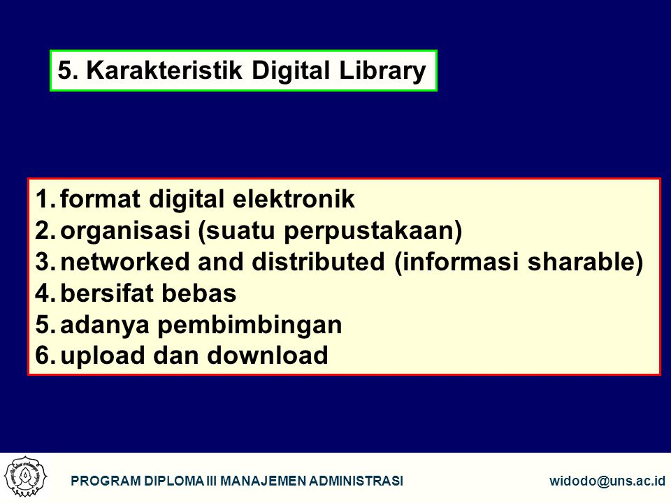 5. Karakteristik Digital Library