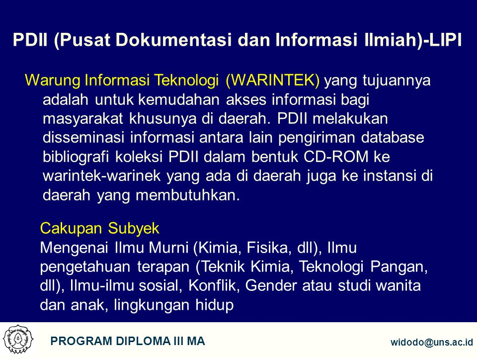 PDII (Pusat Dokumentasi dan Informasi Ilmiah)-LIPI