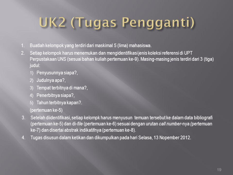 UK2 (Tugas Pengganti) Buatlah kelompok yang terdiri dari maskimal 5 (lima) mahasiswa.