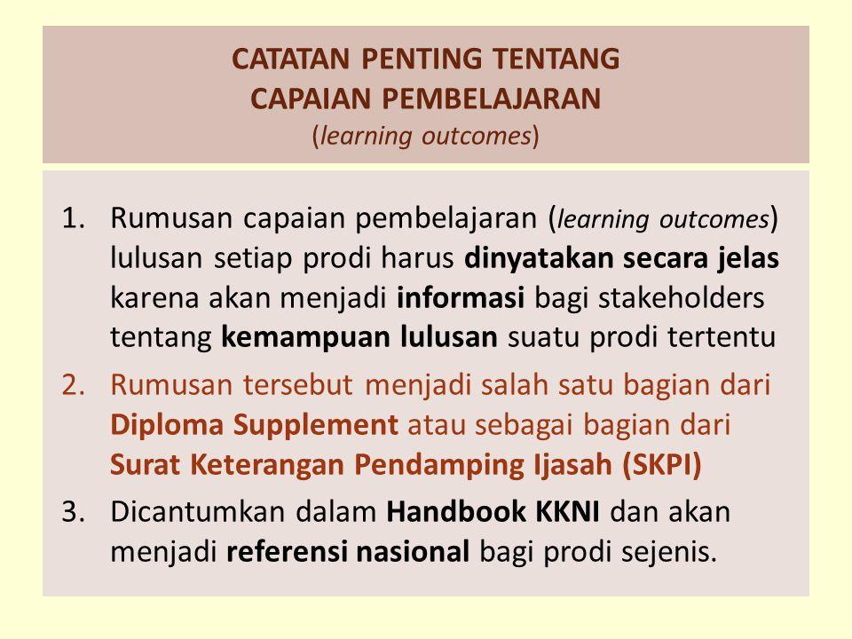 CATATAN PENTING TENTANG CAPAIAN PEMBELAJARAN (learning outcomes)
