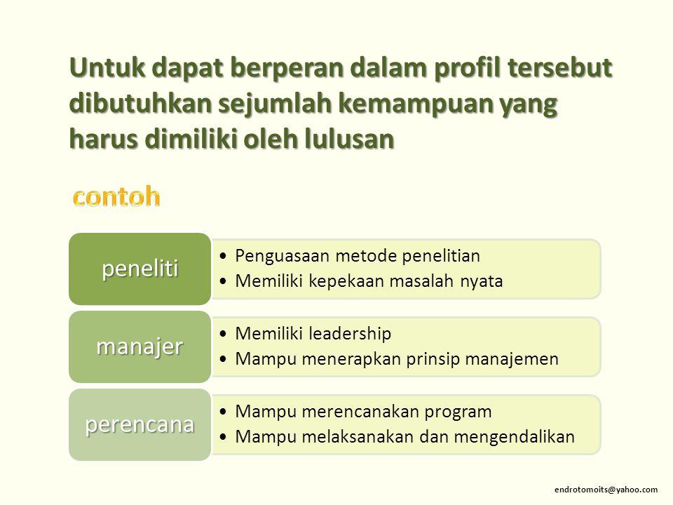 Untuk dapat berperan dalam profil tersebut dibutuhkan sejumlah kemampuan yang harus dimiliki oleh lulusan
