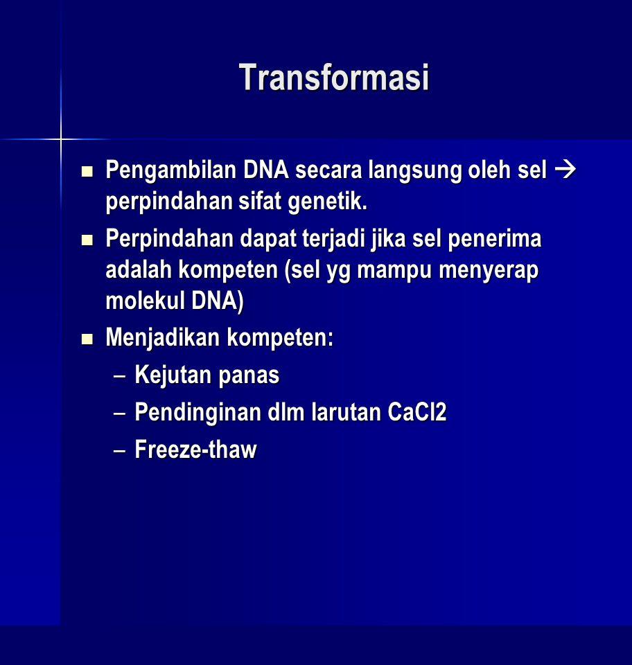 Transformasi Pengambilan DNA secara langsung oleh sel  perpindahan sifat genetik.