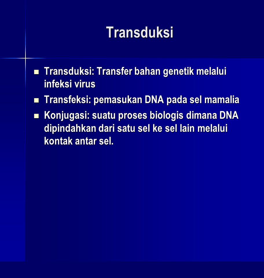 Transduksi Transduksi: Transfer bahan genetik melalui infeksi virus