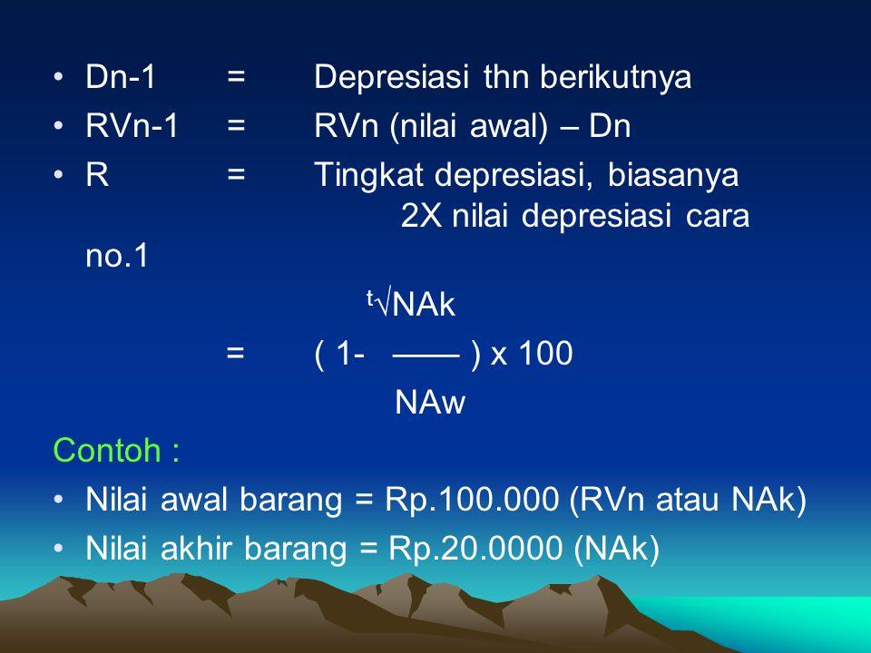 Dn-1 = Depresiasi thn berikutnya