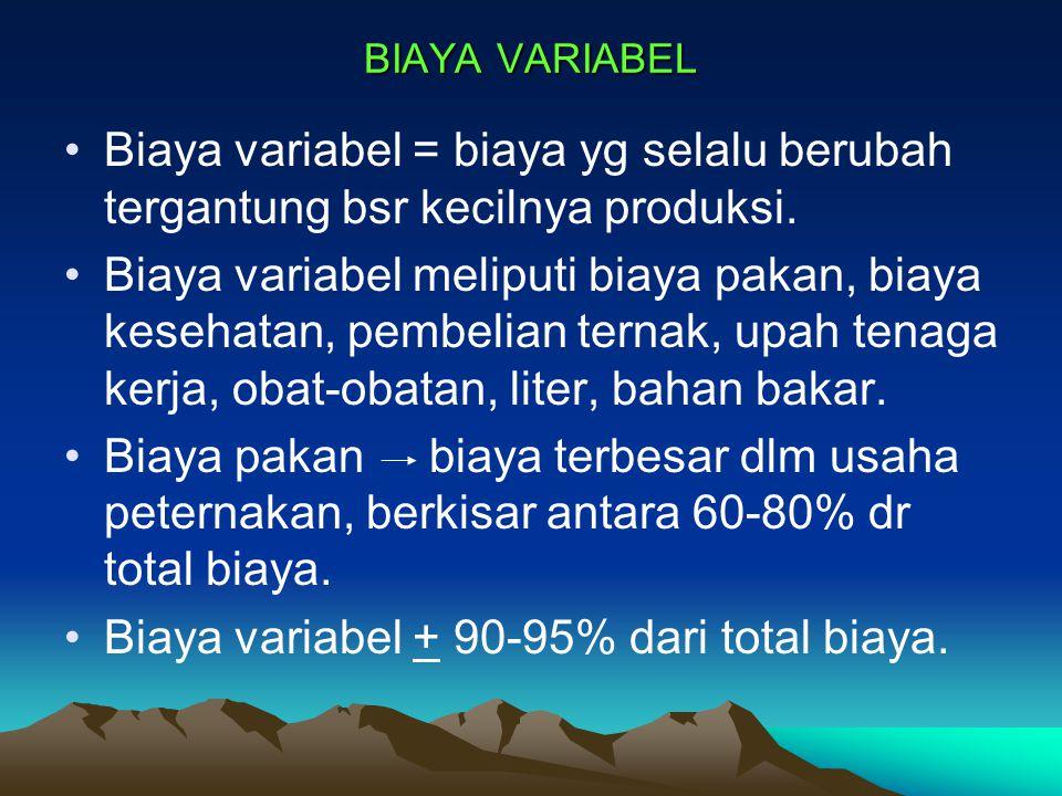 Biaya variabel + 90-95% dari total biaya.