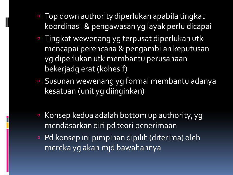 Top down authority diperlukan apabila tingkat koordinasi & pengawasan yg layak perlu dicapai