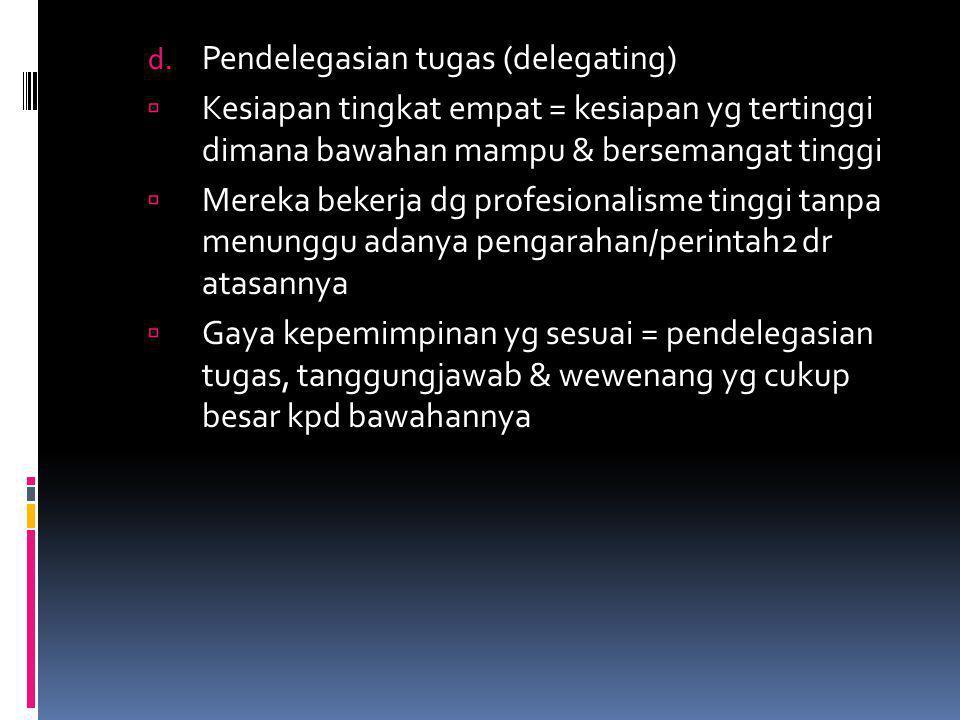 Pendelegasian tugas (delegating)
