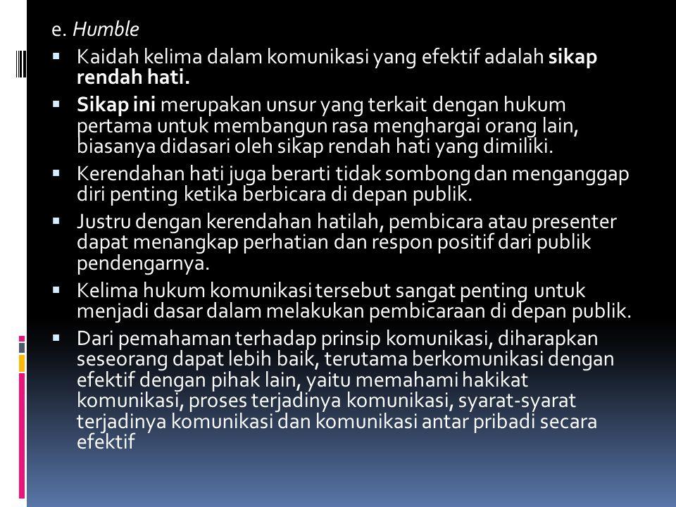 e. Humble Kaidah kelima dalam komunikasi yang efektif adalah sikap rendah hati.